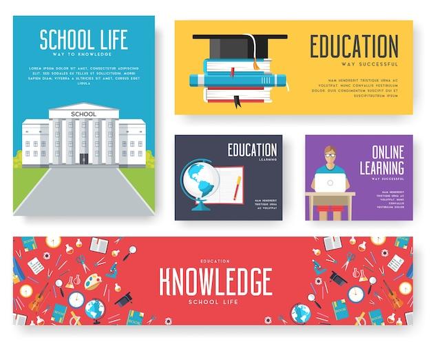 Terug naar school set kaarten illustraties brochure ontwerpconcept