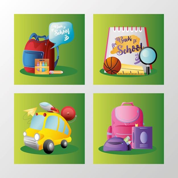 Terug naar school set met banners onderwijs cartoon rugzak bus boek vectorillustratie