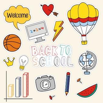 Terug naar school set van kleurrijke stickers