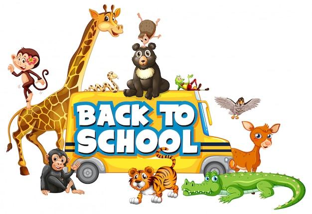 Terug naar school sjabloon met dieren