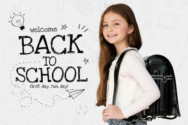 Terug naar school-sjabloon met schattige student
