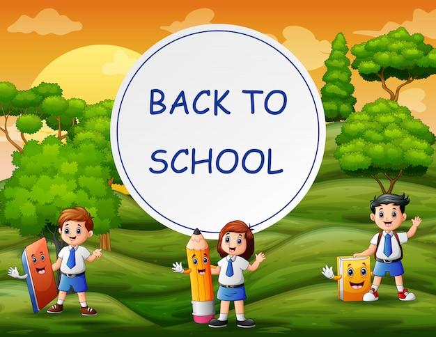 Terug naar school sjabloon met studenten van aard