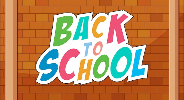Terug naar school sjabloon op brickwall
