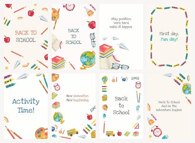 Terug naar school sjabloon vector bewerkbare set poster