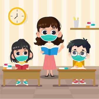 Terug naar school sociale afstand met maskerconcept