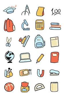 Terug naar school spullen icoon cartoon illustraties
