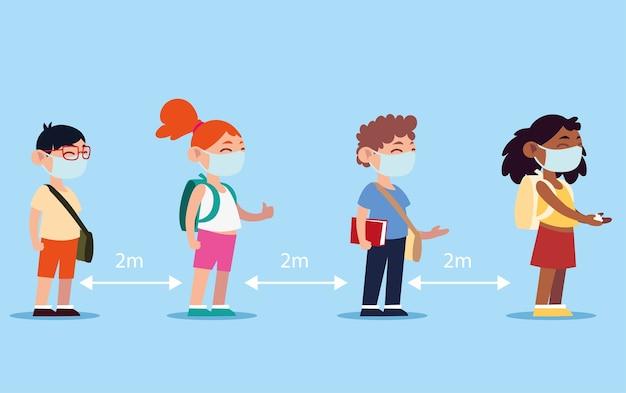 Terug naar school staan studenten in de rij, dragen gezichtsmaskers om de illustratie op sociale afstand te beschermen en te bewaren