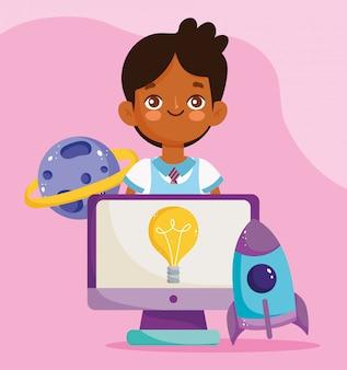 Terug naar school, student jongen computer planeet raket elementair onderwijs cartoon afbeelding