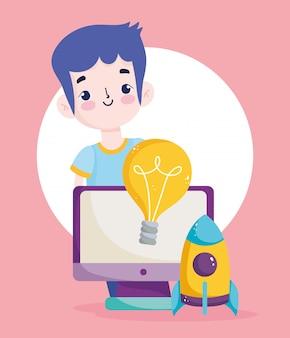 Terug naar school, student jongen computer raket creativiteit elementair onderwijs cartoon afbeelding