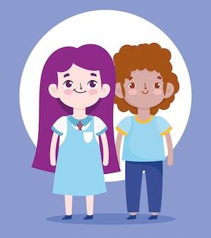 Terug naar school, student jongen en meisje uniform cartoon basisonderwijs illustratie