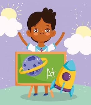 Terug naar school, student jongen schoolbord raket planeet elementair onderwijs cartoon afbeelding
