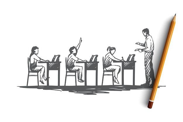 Terug naar school, studie, onderwijs, kennis, leerconcept. hand getrokken leerlingen in de klas tijdens de schets van het lesconcept.