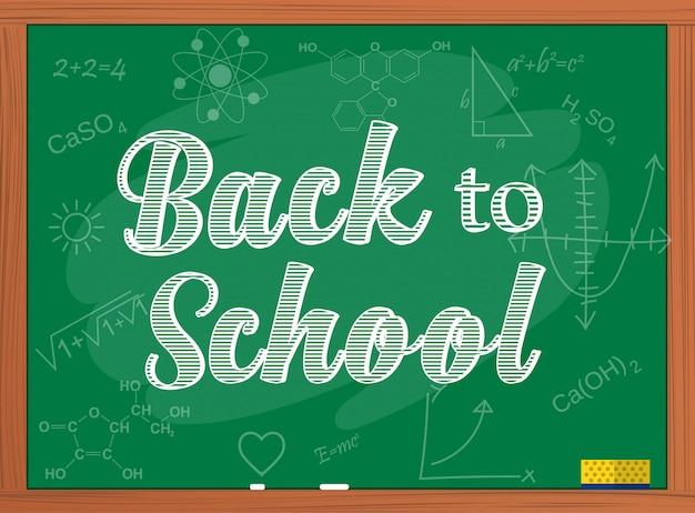 Terug naar school tekst over schoolbord