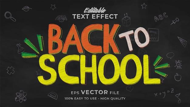 Terug naar school teksteffect bewerkbare schoolbordtekststijl Premium Vector