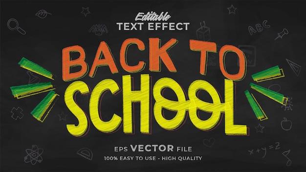 Terug naar school teksteffect bewerkbare schoolbordtekststijl