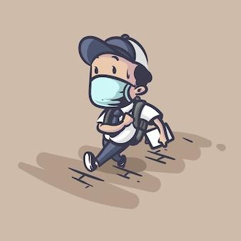 Terug naar school tijdens pandemie illustratie