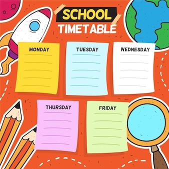 Terug naar school tijdschema hand getrokken ontwerp