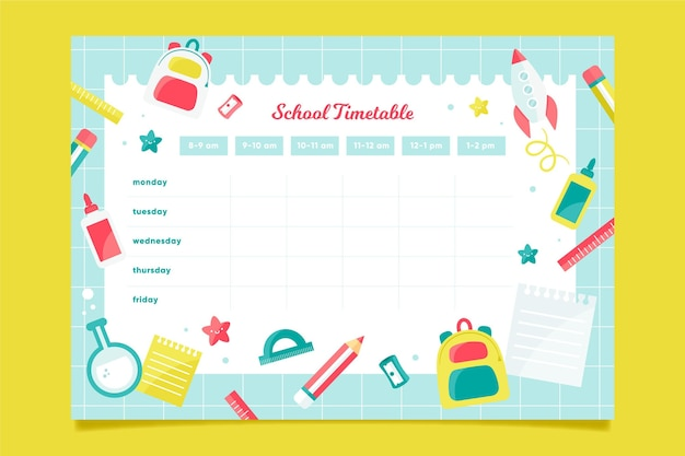 Terug naar school tijdschema ontwerp