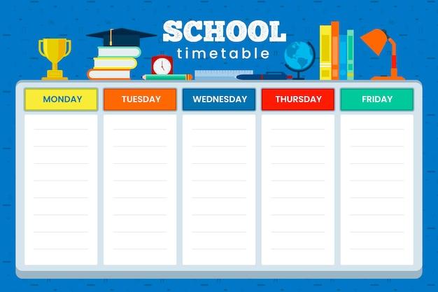 Terug naar school tijdschema plat ontwerp