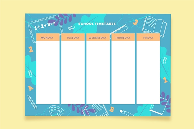 Terug naar school tijdschema sjabloon