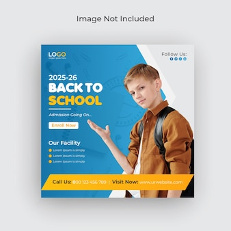 Terug naar school toelating sociale media en webbanner flyer facebook omslagfoto sjabloon