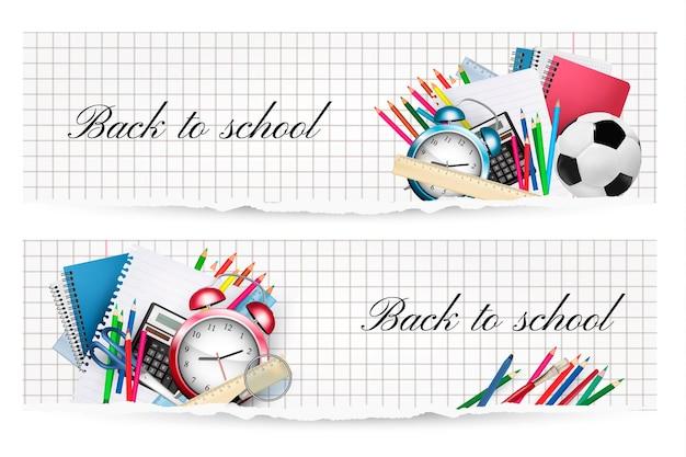Terug naar school. twee banners met schoolbenodigdheden. vector