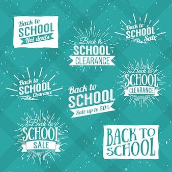 Terug naar school typografisch - vintage stijl terug naar school hot deals ontwerpindeling in formaat