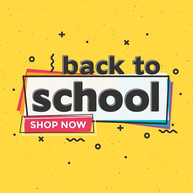 Terug naar school typografische verkoop ontwerpsjabloon