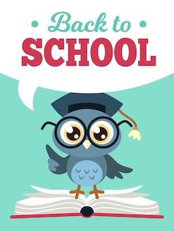 Terug naar school uil. wijze uil in afgestudeerde pet met boeken, leren onderwijs kinderen gekleurde schoolkaart, cartoon vector decoratieve poster