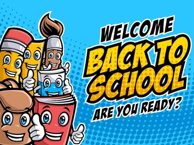 Terug naar school vector tekens met grappige onderwijs cartoon mascottes