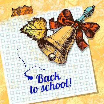 Terug naar school vectorontwerp. handgetekende vintage achtergrond