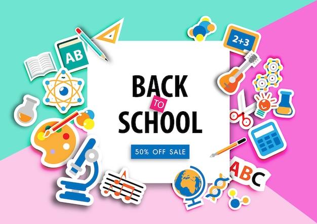 Terug naar school verkoop achtergrond met pictogram sticker vector
