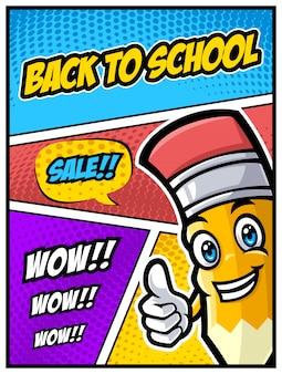 Terug naar school verkoop banner met grappige potlood karakter en komische stijl