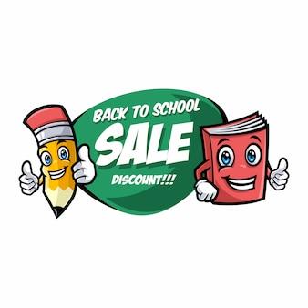 Terug naar school verkoop banner met grappige schoolpersonages