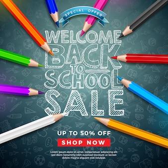 Terug naar school verkoop banner met kleurrijke potlood en typografie brief op schoolbord