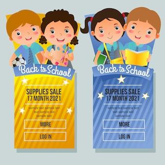 Terug naar school verkoop banner verticale kinderen cartoon