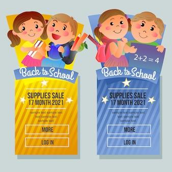 Terug naar school verkoop banner verticale school student cartoon