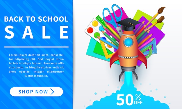 Terug naar school verkoop bannerontwerp met educatieve items