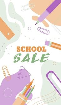 Terug naar school verkoop banners concept in pastel vlakke stijl