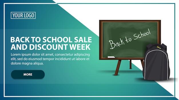 Terug naar school verkoop en korting week, sjabloon voor spandoek webbanner