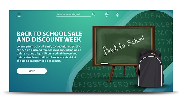 Terug naar school verkoop en kortingsweek, moderne groene webbanner