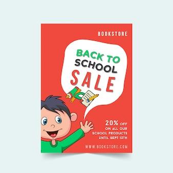 Terug naar school verkoop flyer sjabloonontwerp met cartoon jongen