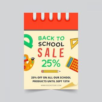 Terug naar school verkoop flyer sjabloonontwerp met kalenderthema