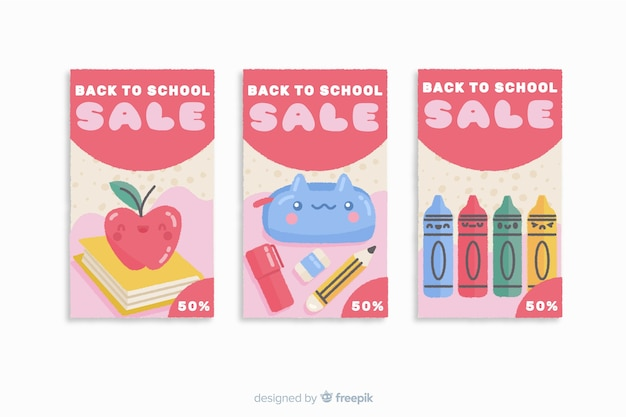 Terug naar school verkoop kaartsjabloon