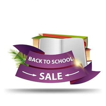Terug naar school verkoop, korting webbanner in de vorm van linten voor uw bedrijf
