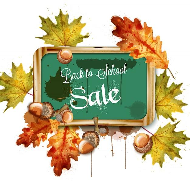 Terug naar school verkoop schoolbord en herfst bladeren aquarel