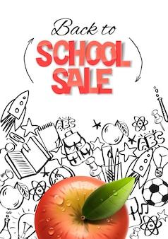 Terug naar school verkoop sjabloon realistische rode appel op doodle school achtergrond vector afbeelding