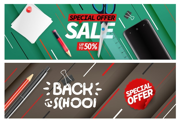 Terug naar school verkoop, speciale aanbieding banner set