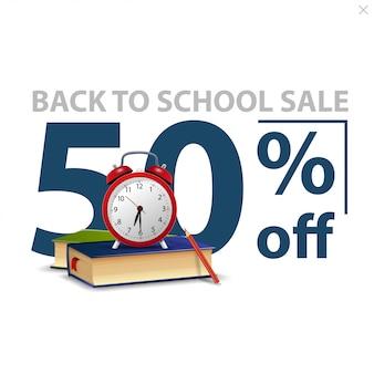 Terug naar school verkoop, witte stijlvolle kortingsbanner met grote aantallen