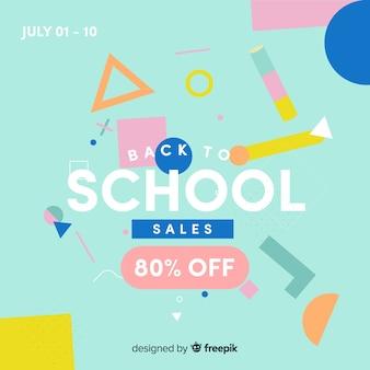 Terug naar school verkoopbanner, 80% korting